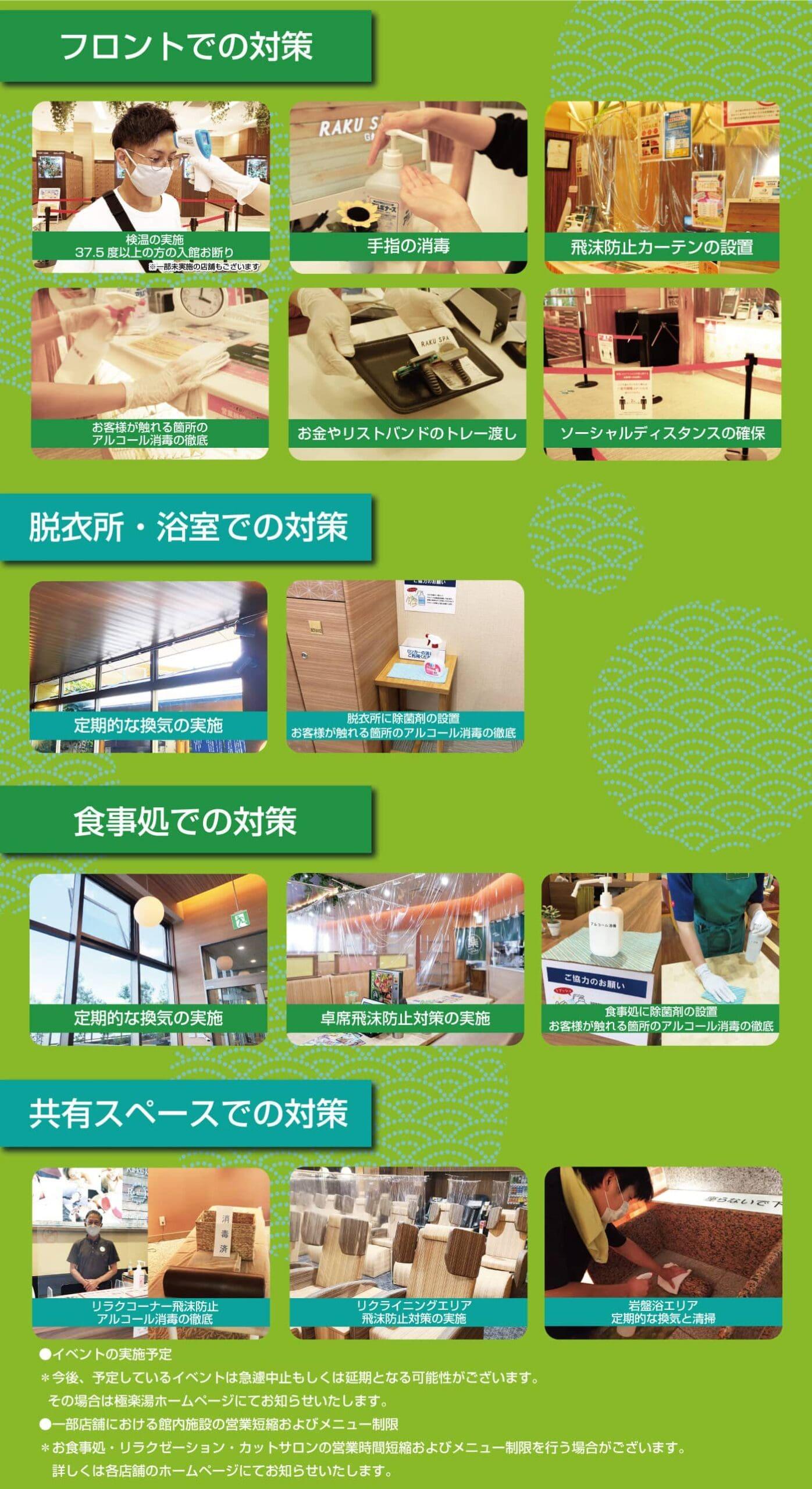 祥楽の湯 津幡店 感染予防対策